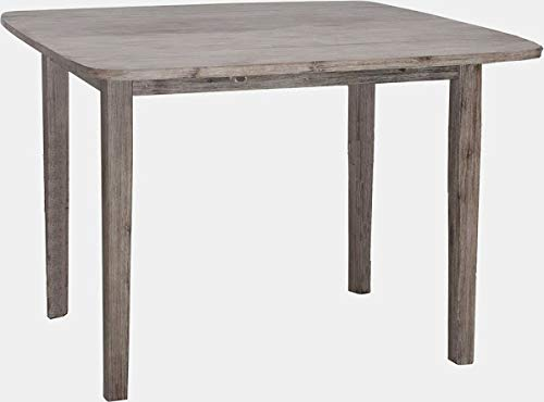 40' Drop Leaf Table - Wood Rectangular Silhouette Dining Table - Dining Table with 2 Leaves and Rounded Corners - Grey