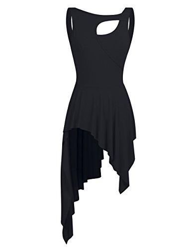 YiZYiF Lyrical Women Ballet High Low Dance Dress Leotard Short Dress With Sleeveless Crew Neck Black (Crew Neck Sleeveless Women Dress)