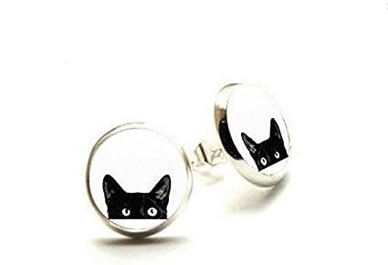 Pendientes de gato, pendientes negros de gato, cristal cúpula gato joyas, hipoalergénicos pendientes