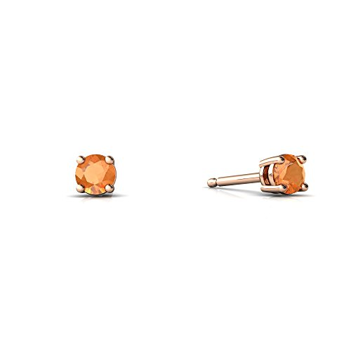 14kt Gold Fire Opal 3mm Round Round Stud Earrings