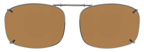 Cocoons Polarized Clip-on Rectangle 7 L4169A Rectangular Sunglasses, Bronze, 50 - Sunglasses Clip Cocoon On