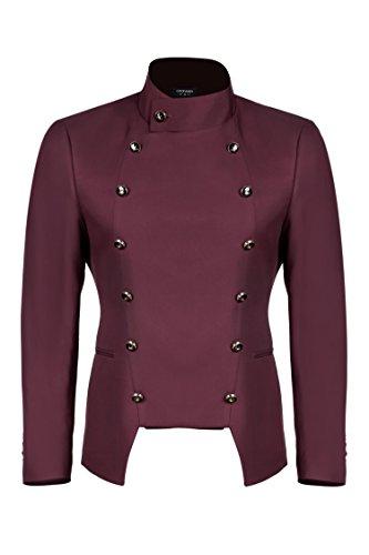 JINIDU Men's Casual Double-Breasted Suit Coat Jacket Business Blazers by JINIDU
