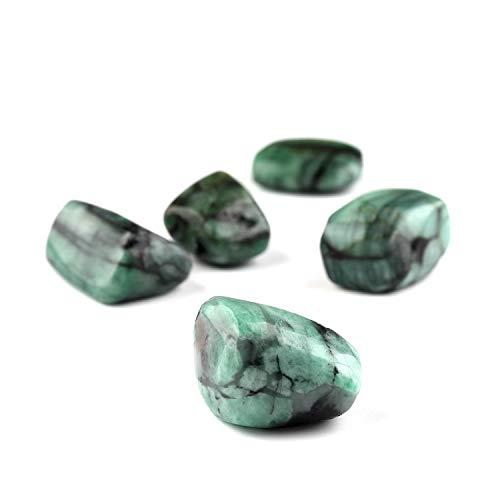 Jaguar Gems Natural Emerald Stone, Natural Polished Tumble Gemstone & Crystals Chakra Healing Stone Home Decor Jewelry Making (200 Carats)