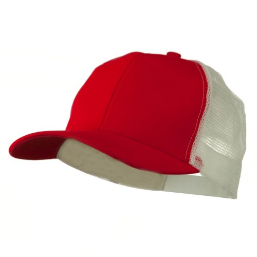 Cotton Brush Mesh Trucker Cap - Red White (Red Brush Cotton Hat)