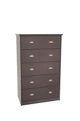 Solid Wood Bedroom Dresser - Amayo Home Solid Wood 5-Drawer Dresser Espresso with Handles, 27.5