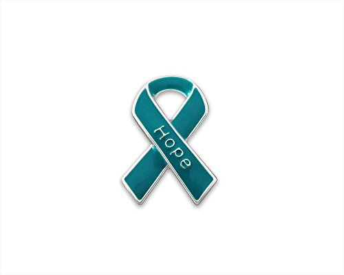 Teal Ribbon Hope Pins (Wholesale Pack - 25 (Relay For Life Merchandise)