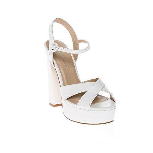Chunky High Heel Sandals (CALICO KIKI CAELA-CK01 Women's Buckle Ankle Strap Open Toe Chunky High Heel Platform Dress Sandals (6 US White PU))