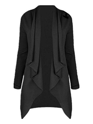 Irregular Chaquetas negro Un Camisas Larga botón Blusas de Personalizadas Abrigo Manga Camisetas Cardigan Outwear Jacket y Invierno AILIENT Otoño Mujer 6vqCwa