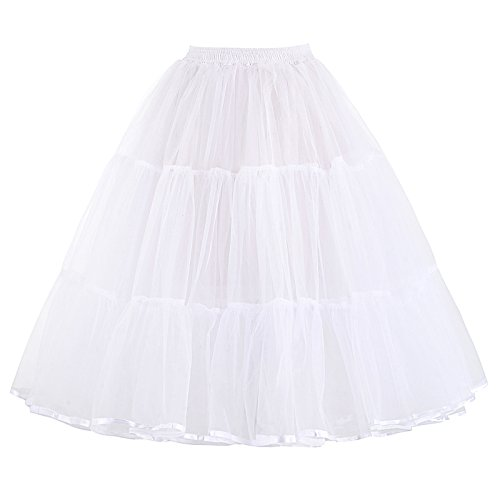 50s Vintage Swing Fluffy Petticoat Skirt Tutu for Girls 22 Inch Length White(S) -
