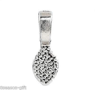 FidgetFidget Gift Wholesale Silver Tone Glue on Bail Leaf Tags 16x5mm(5/8'' x2/8'') 5000PCs by FidgetFidget (Image #1)