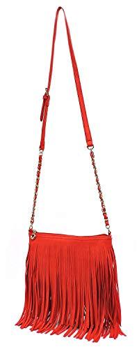 Elphis 031 Bag Shoulder Tassel Cross Chain Western Fringe Body Bag Strap Vintage Watermelon Hipster rqrpUa7