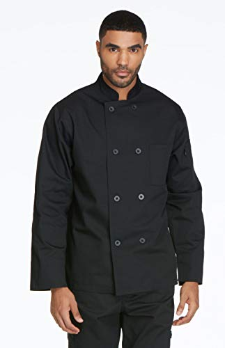 (Dickies Chef Classic 8 Button Coat, Black, X-Large)