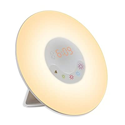 Amir Wake-Up Light, Sunrise Simulation Alarm Clock, Nature Night Light, 5 Colors Atmosphere Lamp, 3 Brightness Bedside Lamp, Morning Wake-Up Alarm Light with Nature Sounds & FM Radio - Touch Control