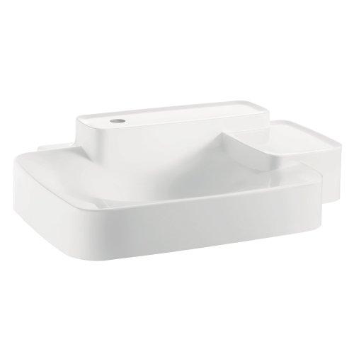 (AXOR 19942110 Wall Hung Bouroullec Wash basin, Small, 2 Shelfs, 1 Hole, White)