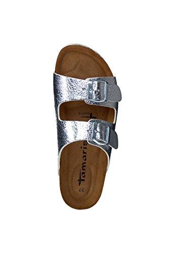 Tamaris 27501-952 - Zuecos de Material Sintético para mujer plateado plata plata