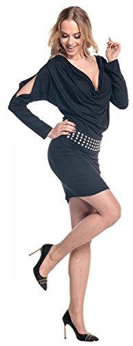 Glamour Empire. De Las Mujeres Capucha Cuello Jersey Vestido Espárragos Cinturón Batwing Manga. 916 Negro