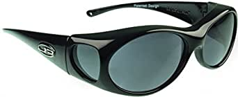 "Fitovers Eyewear Aurora Sunglasses Midnight Oil - Polarized Grey Lens - Oval - 133mm X 39mm or 5 - 1/4"" X 1 - 1/2"""