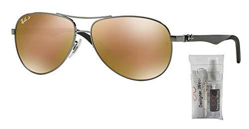 (Ray-Ban RB8313 CARBON FIBRE 004/N3 58M Shiny Gunmetal/Brown Gold Mirror Polarized Sunglasses For Men For Women)
