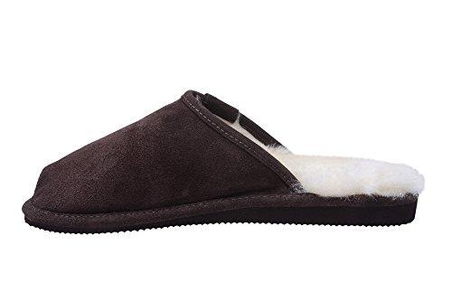 Slippers Ladies White Mule W74L Lining Soft Sheepskin Brown Leather Genuine Wool wqq6xgHI