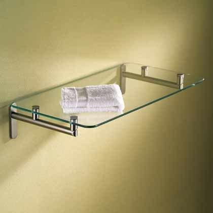 Bath 24' Glass Shelf (Motiv 0240/24-SN Sine 24'' Hotel Shelf 0.25'' Tempered Glass Shelf - 0240-24)