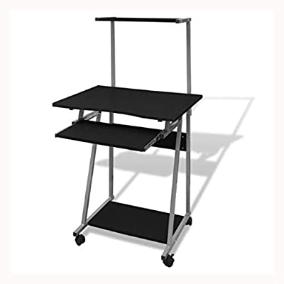 K&A Company Computer Desk with Pull-Out Keyboard Tray Black