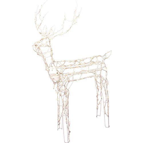 Lighted Reindeer - Animated 3-D Wire Standing Buck Reindeer, Lighted and Moving Christmas Yard Decoration, 48-inches Tall