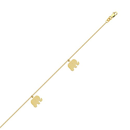 Anklet 14k Yellow Gold Adjustable Length with Elephant Dangles by AzureBella Jewelry