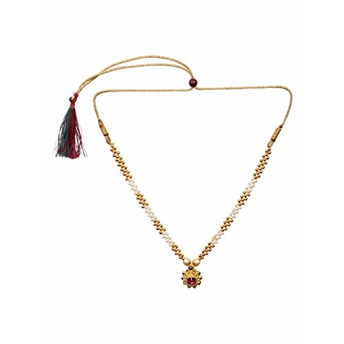 Efulgenz Indian Bollywood Traditional White Red Rhinestone Faux Ruby Pearl Designer Thusi Style Necklace in Antique 18K Gold Tone for Women and Girls (Antique Style Pearl Ring)