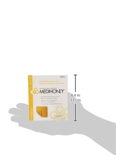 Derma Sciences MEDIHONEY Calcium Alginate Dressing, 2'' x 2'', Box of 10