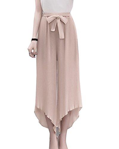 Pantaloni Larghi Donna Eleganti Irregolare Chiffon Baggy Palazzo Vita Alta Casual Estivi Pantaloni Albicocca