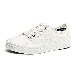 SALT&SEAS Women Adults Canvas Fashion Sneakers Low Top Lace Up Lightweight Flat Breathable Casual Shoes White, 6.5 Medium Women