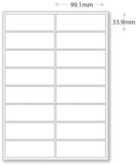 99mm x 33.9mm 16 per sheet Personalised Address Labels on A4 Sheets
