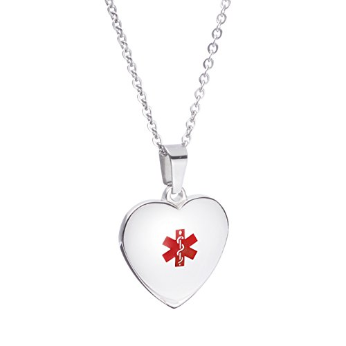 LinnaLove Free Engraving Heart Charm Medical ID Alert Necklaces for Women & Girl(Steel) (Pendant Id Medical Heart)