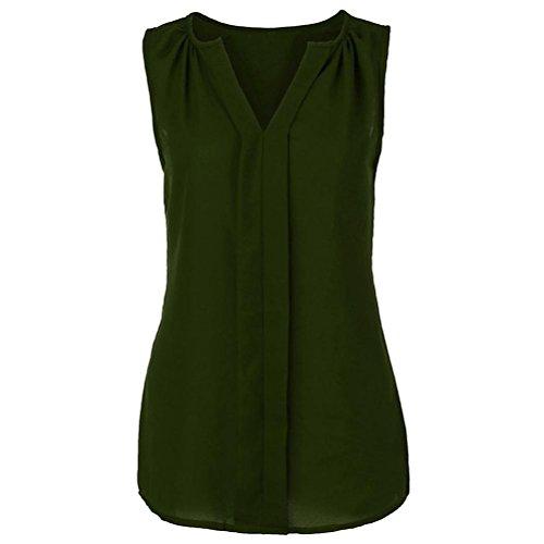 YOcheerful Womens Plus Size Chiffon Vest Shirt Sleeveless Blouse Casual Tank Tops (Army ()