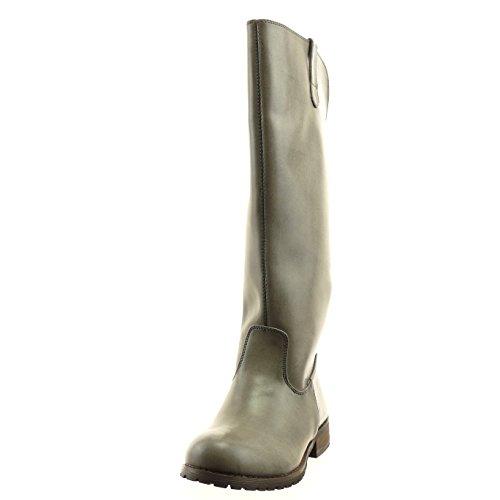 Sopily - Scarpe Moda Donna Stivali Da Equitazione - Cerniera Kavalier Oro - Grigio