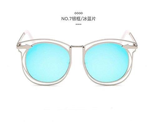 gafas gafas flecha LSHGYJ GLSYJ de círculo las en blue retro de de frame doble sol Silver sol películas moda tendencias ice Metal sol de gafas color rWIAXqInZ