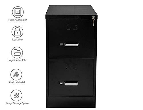 Henlus 2 Drawer Flie Cabinet with Lock Fully Assembled Metal Filing Cabinets for Home Office (Black, 2 Drawer) ()