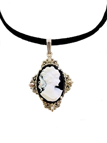 Sterling Silver Vintage Style Resin Cameo Fleur de Lis Pendant with Suede Cord