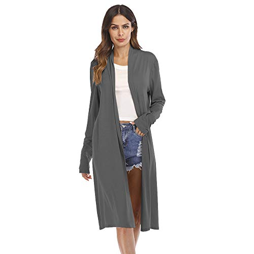 - GOVOW Winter Sexy Shirts for Women Casual Long Sleeve Open Front Patchwork Loose Cardigan Coat(US:14/CN:XL,Gray)