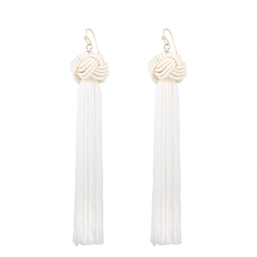 Price comparison product image Elogoog Handcraft Gorgeous Long Tassel Drop Dangle Stud Earrings For Wedding Party Dance Jewelry (Red 4)