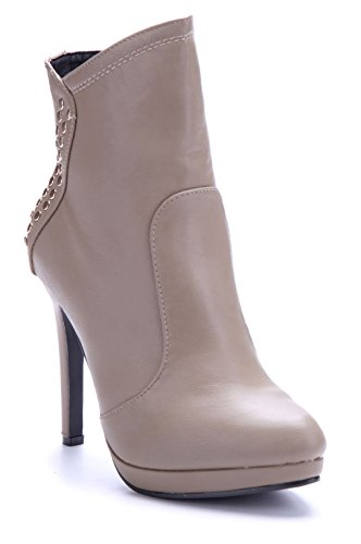 6302228e0e8625 Schuhtempel24 Damen Schuhe Plateau Stiefeletten Stiefel Boots Stiletto  Nieten 11 cm High Heels Khaki