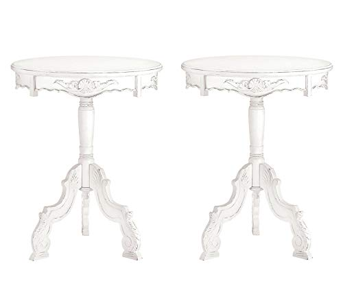 - CUORE BANGKOK END TABLES: 2 Romantic Rococo Antiqued White Tables NEW