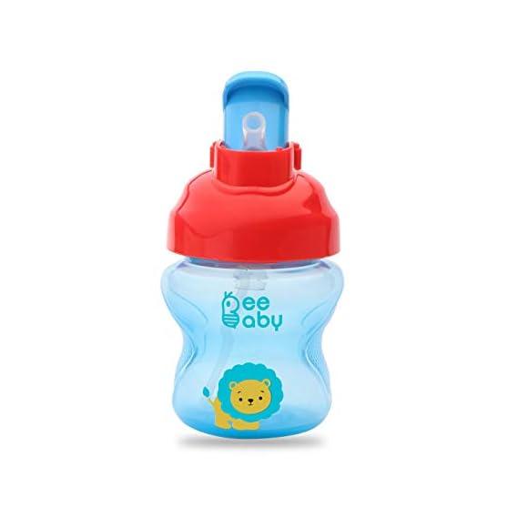 BEEBABY Flippy Soft Silicone Straw Sippy/Sipper Cup 150ml 5oz. 6M+ Anti - Leak | Bpa Free | Easy Grip (Blue)