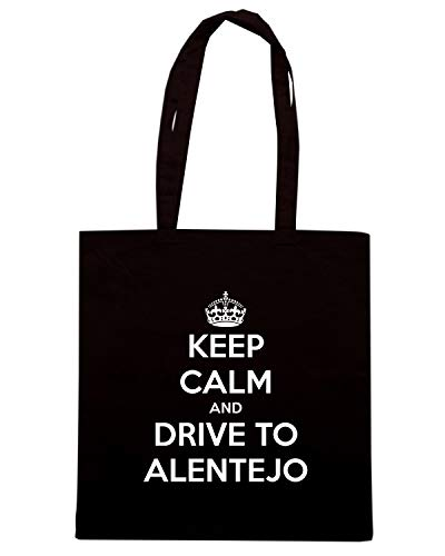 T-Shirtshock Borsa Shopper Nera TKC2619 KEEP CALM AND DRIVE TO ALENTEJO