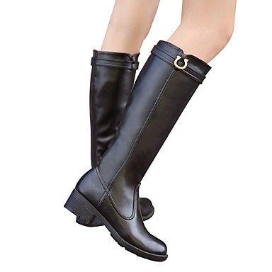 Heart&M Damen Schuhe Leder Herbst Winter Modische Stiefel Springerstiefel Flaum Futter Stiefel Niedriger Absatz Runde Zehe Kniehohe Stiefel
