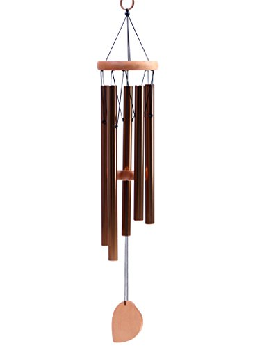 "BEAUTIFUL WIND CHIMES - Tuned 22"" Wood Windchimes Deliver Rich, Full, Relaxing Tones - Best Large Wooden Wind Chime For Outdoor Patio - Music To Your Ears - SATISFACTION GUARANTEE (22"", Bronze)"