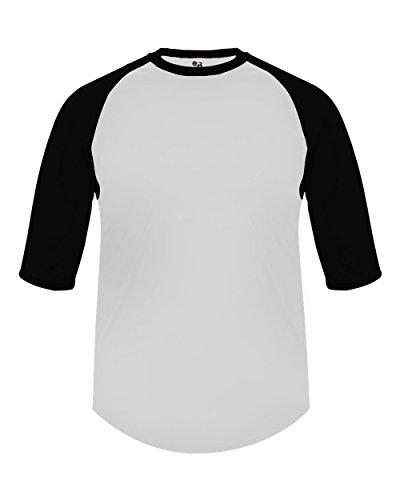 Sleeve Undershirt Baseball Adult - Badger Sport Adult Large White with Black Sleeves Raglan 3/4 Baseball & Softball Undershirt/Jersey Top