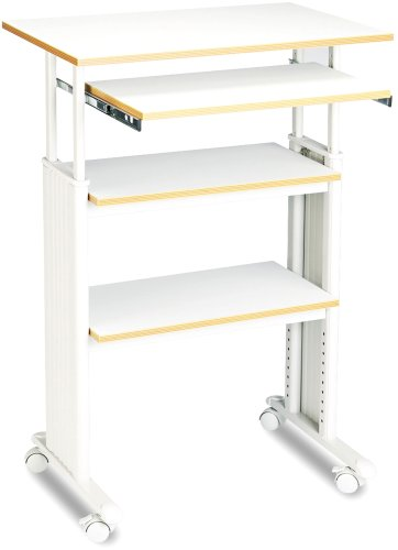Safco Products 1929GR Muv 35-49''H Stand-Up Desk Adjustable Height Computer Workstation with Keyboard Shelf, Gray by Safco Products
