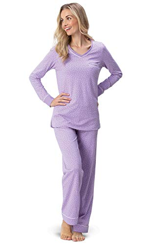 PajamaGram Soft Cotton Pajamas Women - Comfy PJs for Women, Lavender, M, 8-10