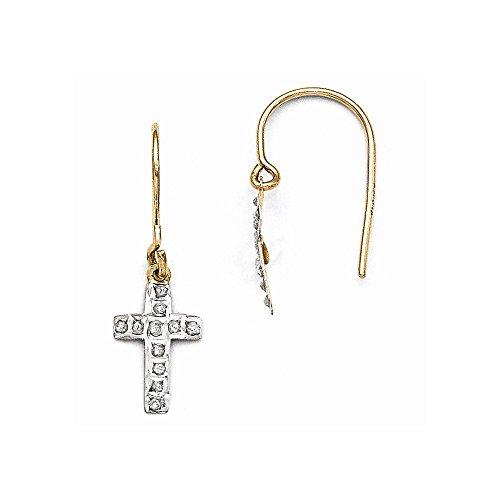 14k Diamond Fascination Cross - Mia Diamonds 14k Yellow Gold (.01cttw) Diamond Fascination Cross Earrings (25mm x 9mm)
